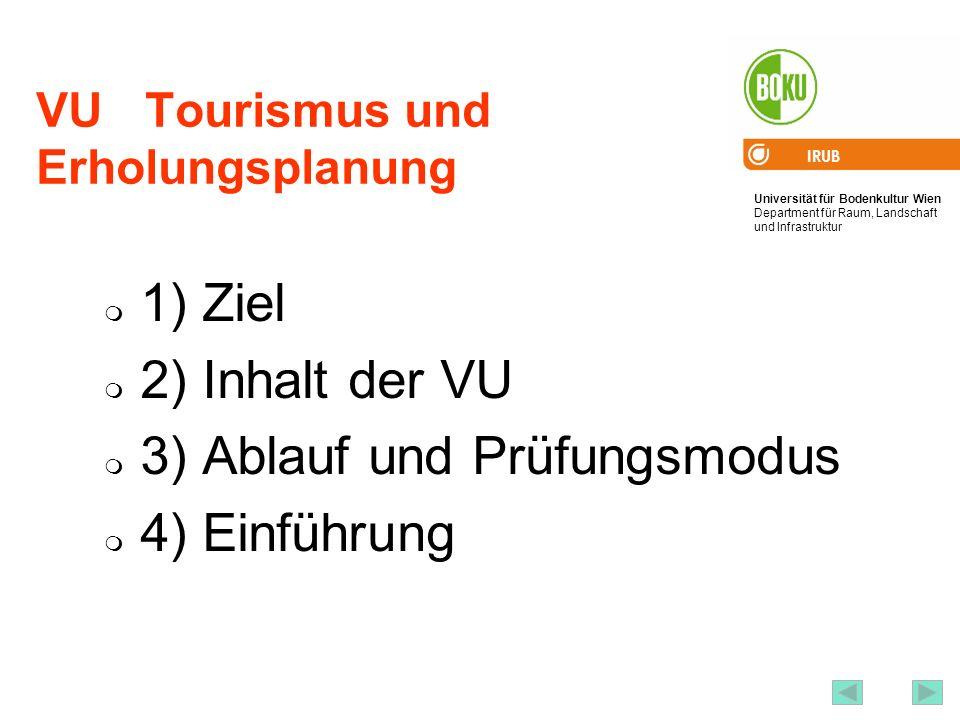 Universität für Bodenkultur Wien Department für Raum, Landschaft und Infrastruktur IRUB 2 VU Tourismus und Erholungsplanung 1) Ziel 2) Inhalt der VU 3