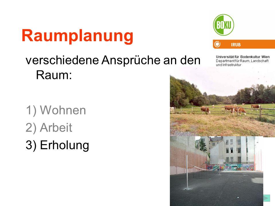 Universität für Bodenkultur Wien Department für Raum, Landschaft und Infrastruktur IRUB 20 Raumplanung verschiedene Ansprüche an den Raum: 1) Wohnen 2
