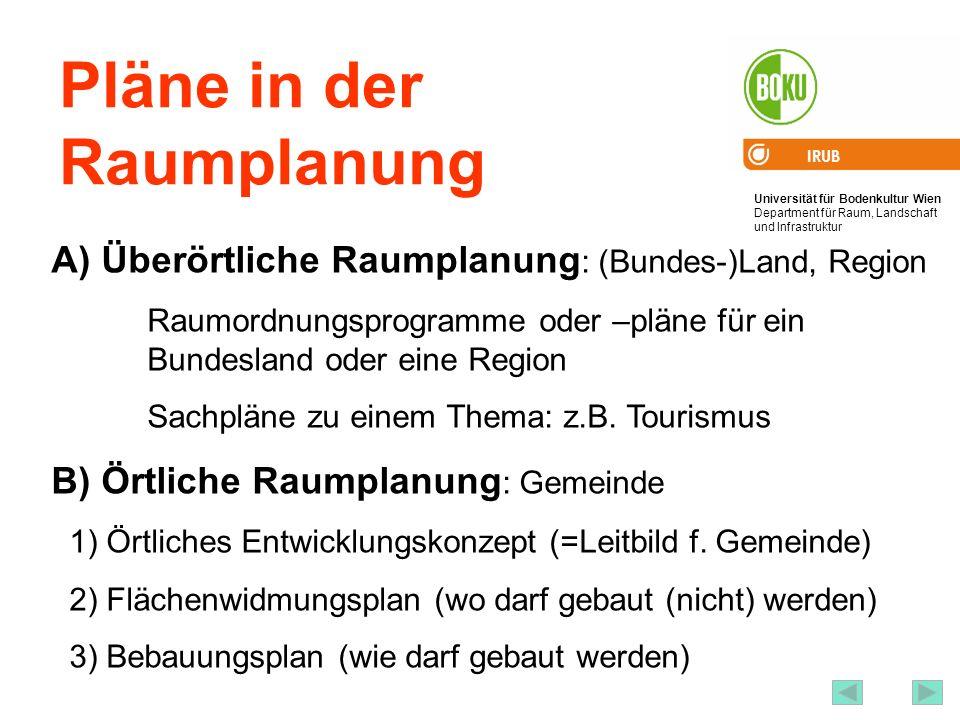 Universität für Bodenkultur Wien Department für Raum, Landschaft und Infrastruktur IRUB 25 Pläne in der Raumplanung A) Überörtliche Raumplanung : (Bun