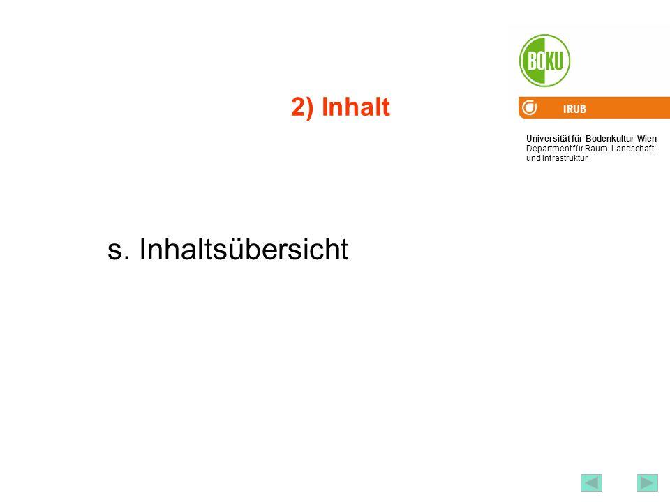 Universität für Bodenkultur Wien Department für Raum, Landschaft und Infrastruktur IRUB 4 2) Inhalt s. Inhaltsübersicht