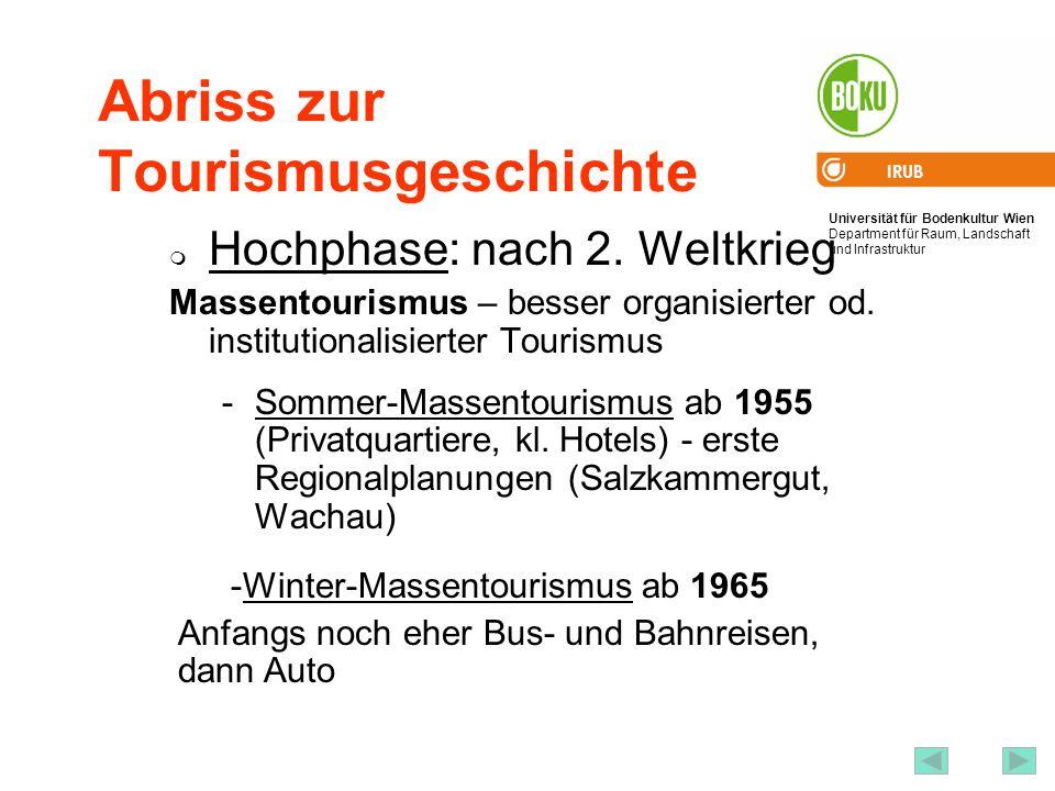 Universität für Bodenkultur Wien Department für Raum, Landschaft und Infrastruktur IRUB 40 Abriss zur Tourismusgeschichte Hochphase: nach 2. Weltkrieg