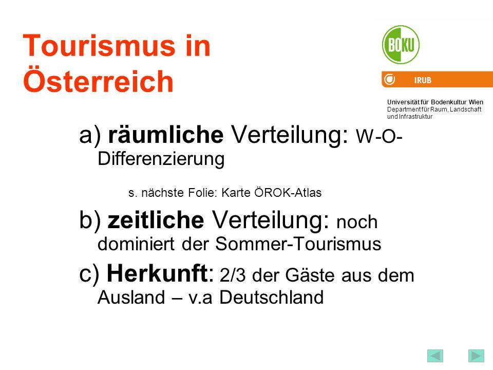 Universität für Bodenkultur Wien Department für Raum, Landschaft und Infrastruktur IRUB 46 Tourismus in Österreich a) räumliche Verteilung: W-O- Diffe