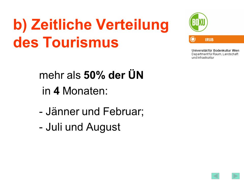 Universität für Bodenkultur Wien Department für Raum, Landschaft und Infrastruktur IRUB 56 b) Zeitliche Verteilung des Tourismus mehr als 50% der ÜN i
