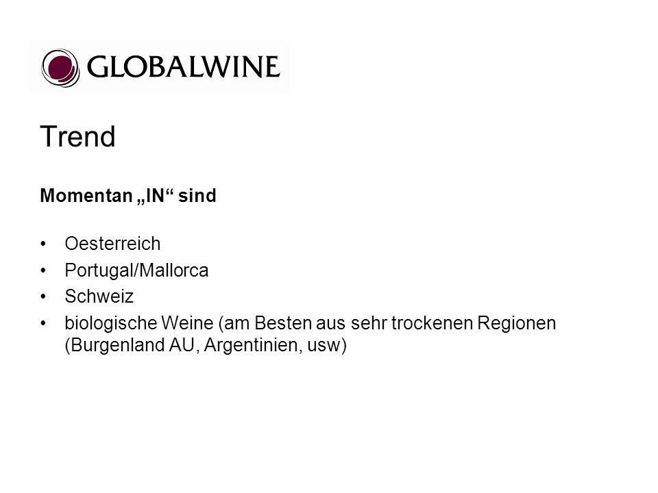 Trend Momentan IN sind Oesterreich Portugal/Mallorca Schweiz biologische Weine (am Besten aus sehr trockenen Regionen (Burgenland AU, Argentinien, usw