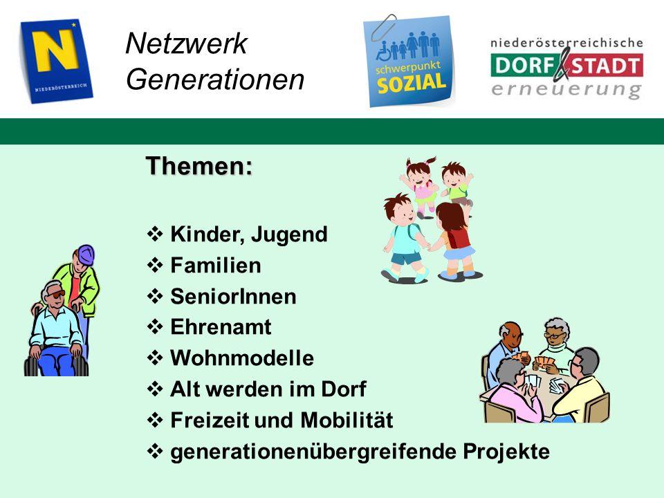 Netzwerk Generationen Themen: Kinder, Jugend Familien SeniorInnen Ehrenamt Wohnmodelle Alt werden im Dorf Freizeit und Mobilität generationenübergreif