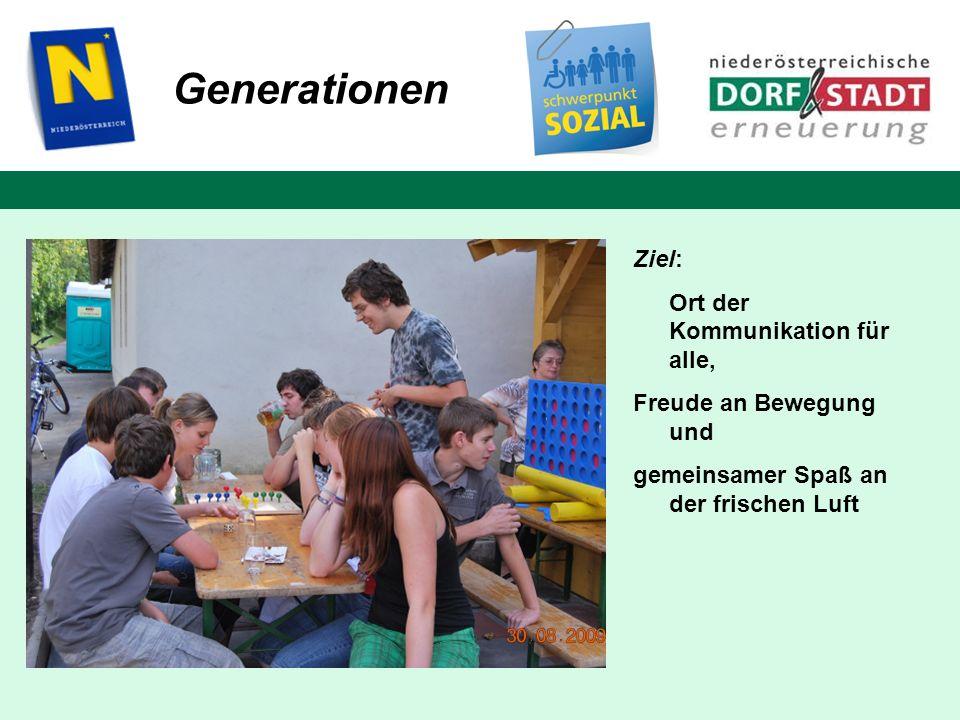 Ziel: Ort der Kommunikation für alle, Freude an Bewegung und gemeinsamer Spaß an der frischen Luft Generationen