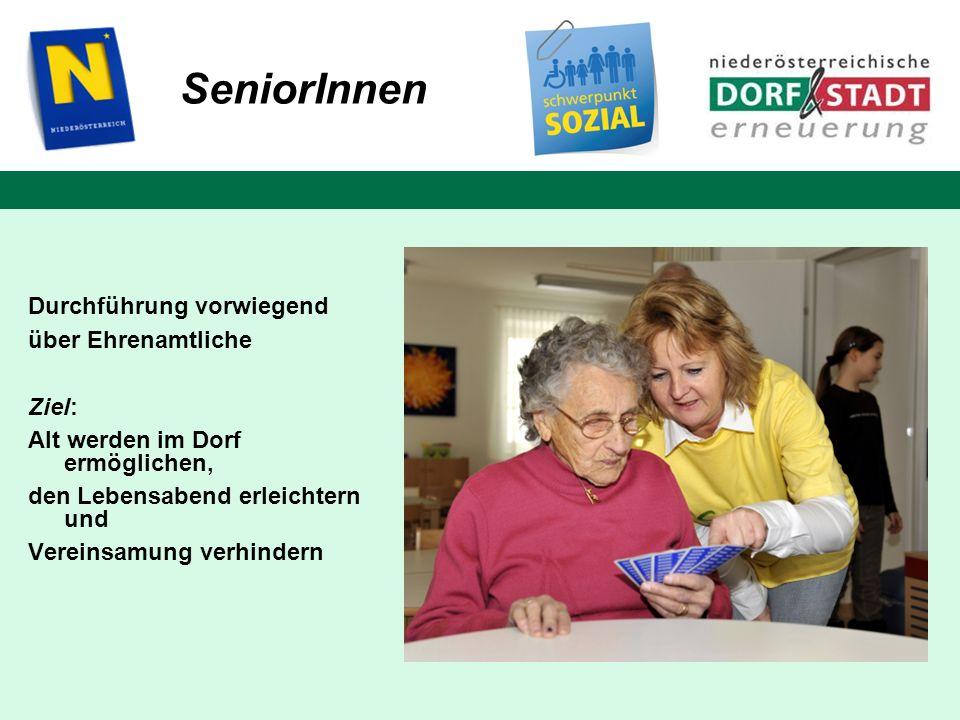 Durchführung vorwiegend über Ehrenamtliche Ziel: Alt werden im Dorf ermöglichen, den Lebensabend erleichtern und Vereinsamung verhindern SeniorInnen