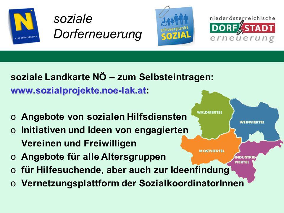 soziale Landkarte NÖ – zum Selbsteintragen: www.sozialprojekte.noe-lak.at www.sozialprojekte.noe-lak.at: oAngebote von sozialen Hilfsdiensten oInitiat