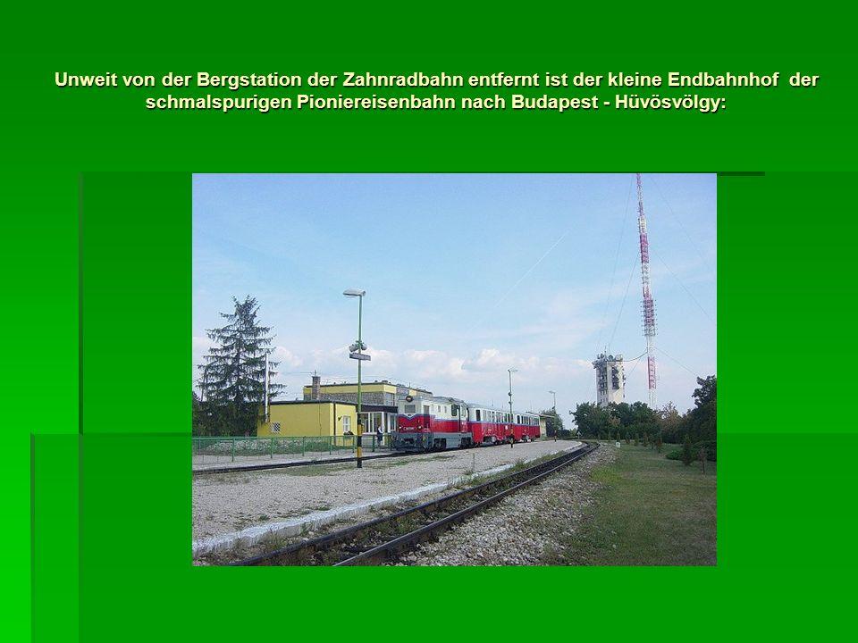 Unweit von der Bergstation der Zahnradbahn entfernt ist der kleine Endbahnhof der schmalspurigen Pioniereisenbahn nach Budapest - Hüvösvölgy: