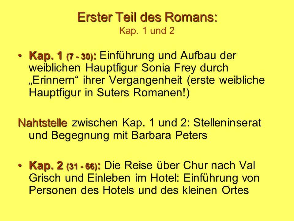 Erster Teil des Romans: Erster Teil des Romans: Kap. 1 und 2 Kap. 1 (7 - 30) :Kap. 1 (7 - 30) : Einführung und Aufbau der weiblichen Hauptfigur Sonia