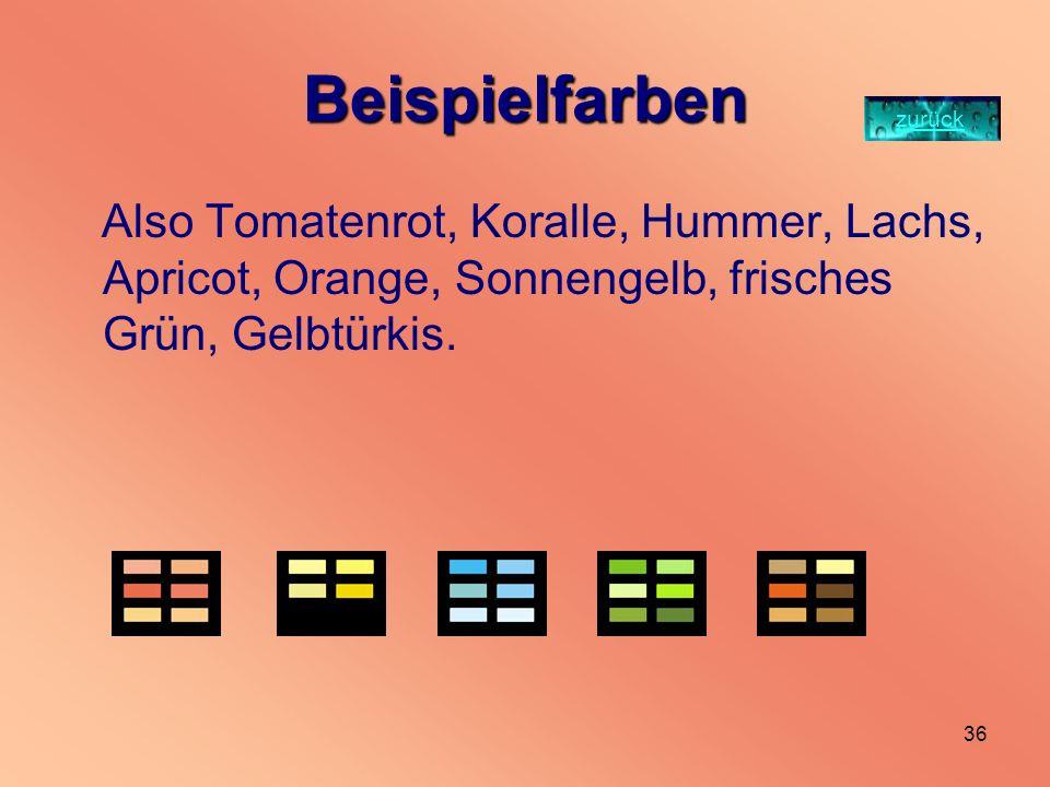 35 Frühlingfarben Dem Frühlings-Typ stehen besonders gut helle Farben mit einem gelben Unterton. Wem die kräftigen Frühlingstöne zu grell sind, kann s