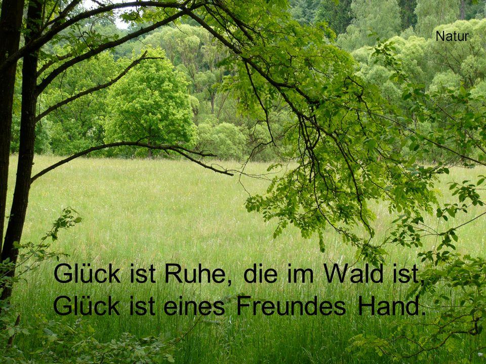 Glück ist Ruhe, die im Wald ist, Glück ist eines Freundes Hand. Natur