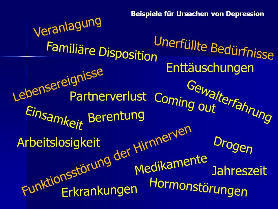 Veranlagung Drogen Lebensereignisse Funktionsstörung der Hirnnerven Einsamkeit Unerfüllte Bedürfnisse Erkrankungen Partnerverlust Familiäre Dispositio