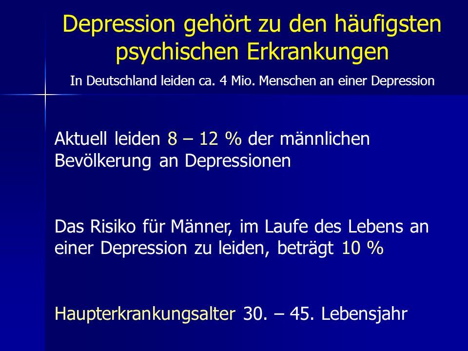 Depression gehört zu den häufigsten psychischen Erkrankungen In Deutschland leiden ca. 4 Mio. Menschen an einer Depression Aktuell leiden 8 – 12 % der