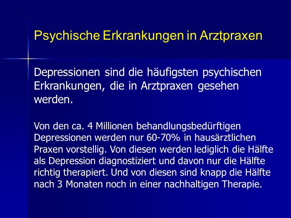 Psychische Erkrankungen in Arztpraxen Depressionen sind die häufigsten psychischen Erkrankungen, die in Arztpraxen gesehen werden. Von den ca. 4 Milli