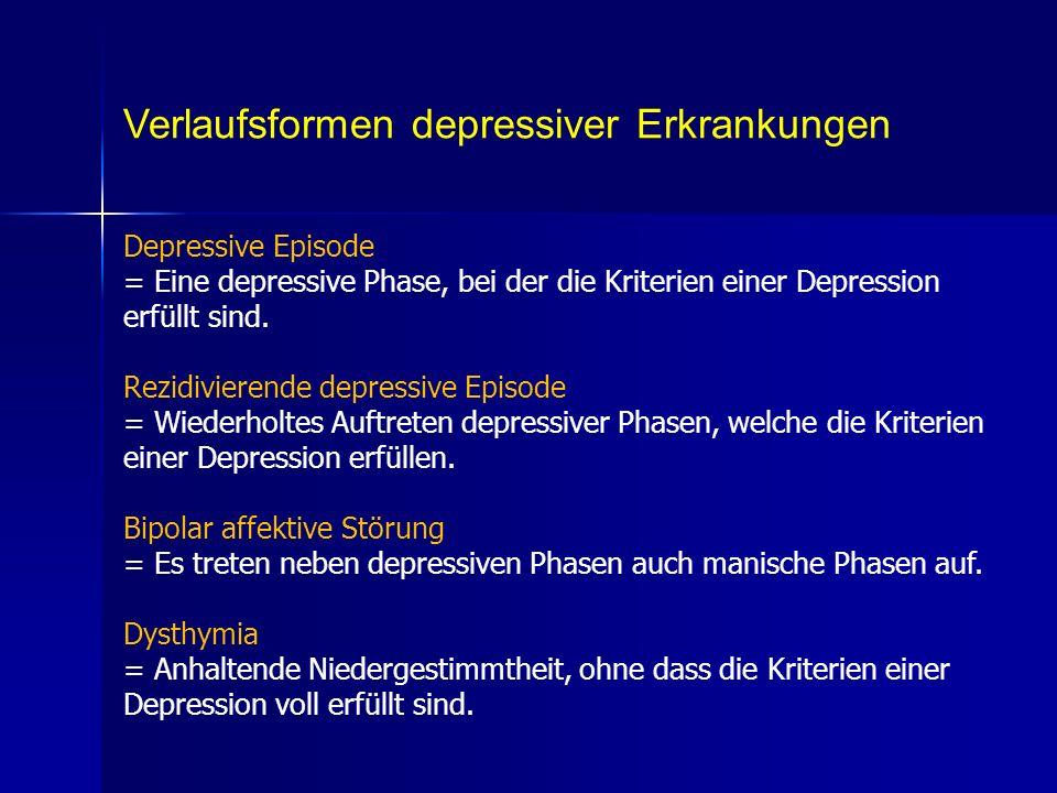 Verlaufsformen depressiver Erkrankungen Depressive Episode = Eine depressive Phase, bei der die Kriterien einer Depression erfüllt sind. Rezidivierend