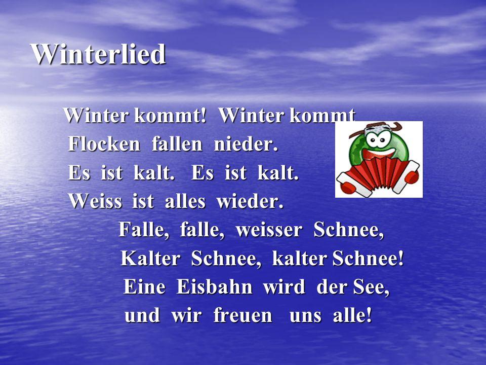 Winterlied Winter kommt! Winter kommt Winter kommt! Winter kommt Flocken fallen nieder. Flocken fallen nieder. Es ist kalt. Es ist kalt. Es ist kalt.