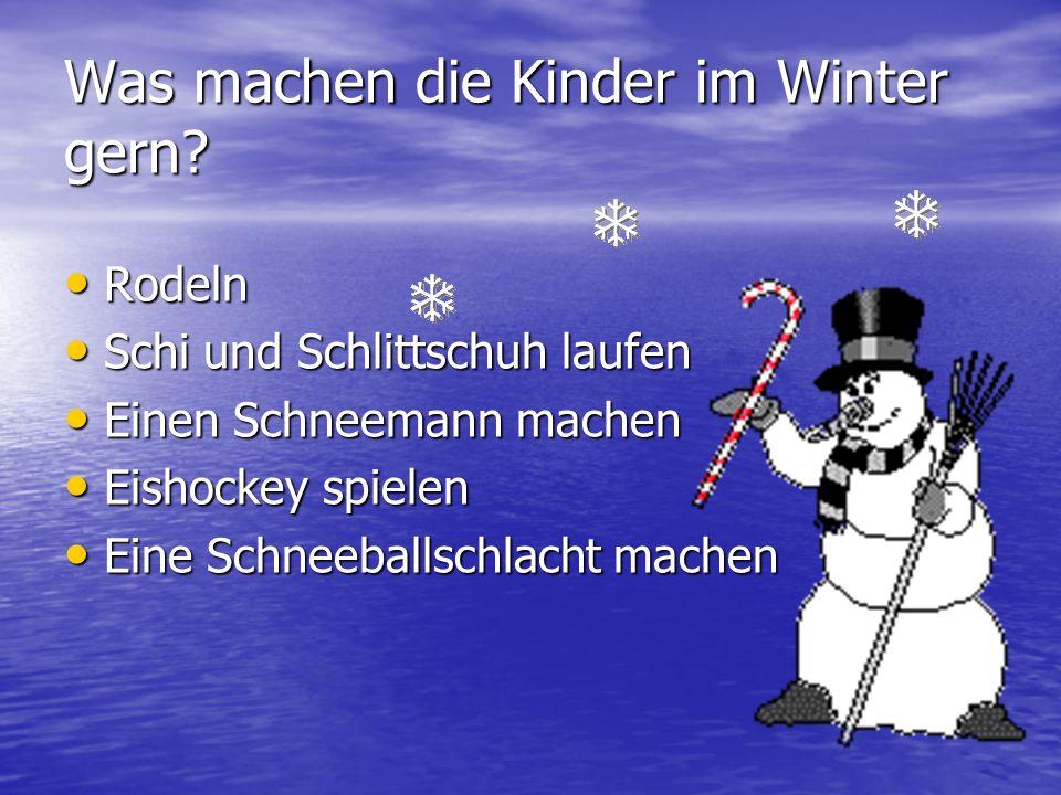 Was machen die Kinder im Winter gern? Rodeln Rodeln Schi und Schlittschuh laufen Schi und Schlittschuh laufen Einen Schneemann machen Einen Schneemann