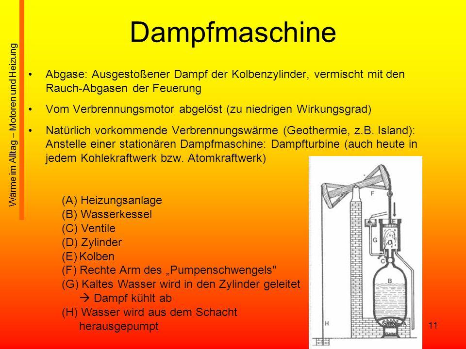11 Dampfmaschine Abgase: Ausgestoßener Dampf der Kolbenzylinder, vermischt mit den Rauch-Abgasen der Feuerung Vom Verbrennungsmotor abgelöst (zu niedr