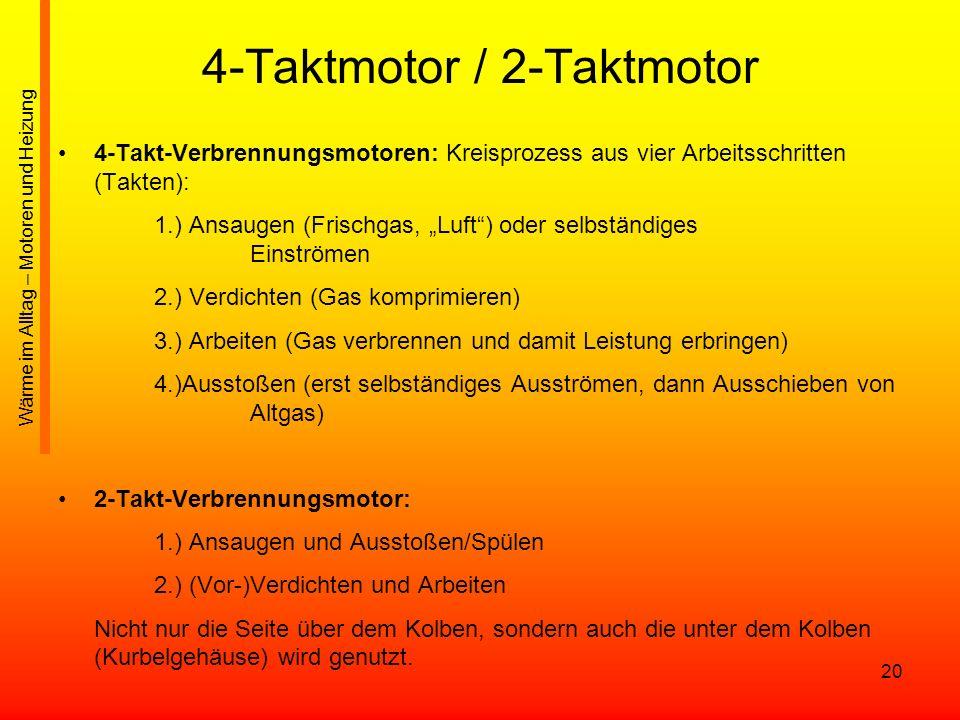 20 4-Taktmotor / 2-Taktmotor 4-Takt-Verbrennungsmotoren: Kreisprozess aus vier Arbeitsschritten (Takten): 1.) Ansaugen (Frischgas, Luft) oder selbstän
