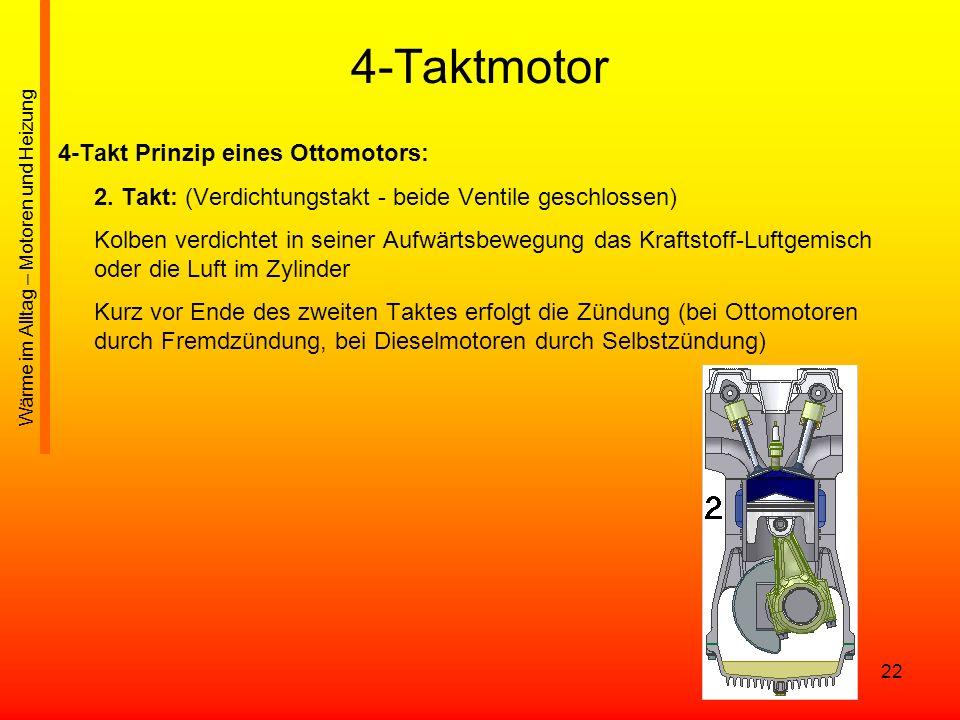 22 4-Taktmotor 4-Takt Prinzip eines Ottomotors: 2. Takt: (Verdichtungstakt - beide Ventile geschlossen) Kolben verdichtet in seiner Aufwärtsbewegung d