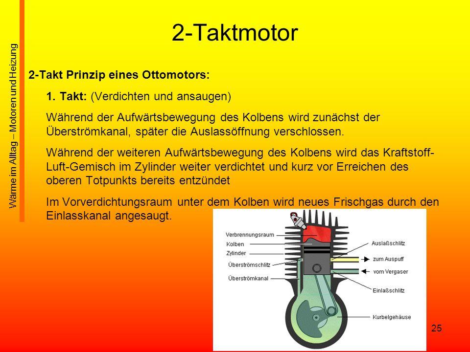 25 2-Taktmotor 2-Takt Prinzip eines Ottomotors: 1. Takt: (Verdichten und ansaugen) Während der Aufwärtsbewegung des Kolbens wird zunächst der Überströ