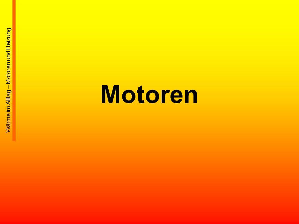 34 Wasserkühlung Moderne Viertaktmotoren: bis auf wenige Ausnahmen wassergekühlt Vorteile: –Wasser gewährleistet einen gleichmäßigen Wärmetransport –Wasser kann eine große Wärmemenge abführen –Wasserkreislauf wird mit geringem Überdruck betrieben ( damit Kühlmitteltemperaturen bis etwa 115 °C möglich) - System durch Überdruckventil geschützt –Für Kühlung wird kaum Leistung benötigt (gegenüber Kühlgebläsen bei der Luftkühlung) –Gestaltung der Heizung einfach: durch Heizungswärmetauscher –Motorblockgestaltung (notwendigen Gussformen) sind leicht herzustellen –Wasserkühlung hält den Temperaturunterschied einzelner Motorteile, und damit den möglichen Verzug gering Leistungsdichte von Verbrennungsmotoren erhöht –Wassermantel wirkt Geräuschdämmend Wärme im Alltag – Motoren und Heizung