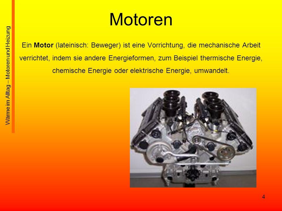 35 Wasserkühlung Wasserkühler/Kühlmittelkühler (früher oftmals aus Messing, heute zumeist aus Aluminium): meist an der Front des Fahrzeuges (meist zwischen den Scheinwerfern) angebracht Große Oberfläche Fahrtwind kühlt das durchfließende Kühlmittel ab Kühlmittel wird mit einer Wasserpumpe durch Schläuche in den Motor gepumpt (Zylinderkopf und Motorblock) Mechanische Wasserpumpe benötigt bis zu 2 kW Antriebsleistung In modernen Motoren: auch elektrische Wasserpumpen (Leistung ~200W) Wärme im Alltag – Motoren und Heizung