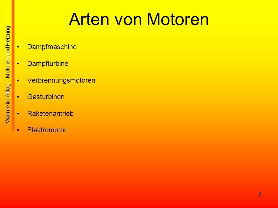 9 Arten von Motoren Dampfmaschine Dampfturbine Verbrennungsmotoren Gasturbinen Raketenantrieb Elektromotor Wärme im Alltag – Motoren und Heizung