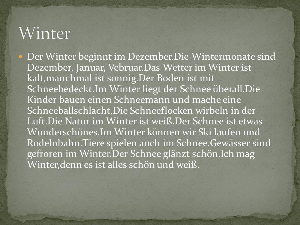 Der Winter beginnt im Dezember.Die Wintermonate sind Dezember, Januar, Vebruar.Das Wetter im Winter ist kalt,manchmal ist sonnig.Der Boden ist mit Sch