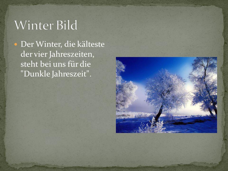 Der Winter, die kälteste der vier Jahreszeiten, steht bei uns für die Dunkle Jahreszeit .