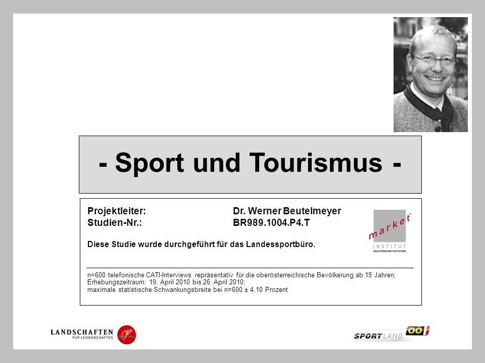 - Sport und Tourismus - Projektleiter:Dr. Werner Beutelmeyer Studien-Nr.:BR989.1004.P4.T Diese Studie wurde durchgeführt für das Landessportbüro. n=60