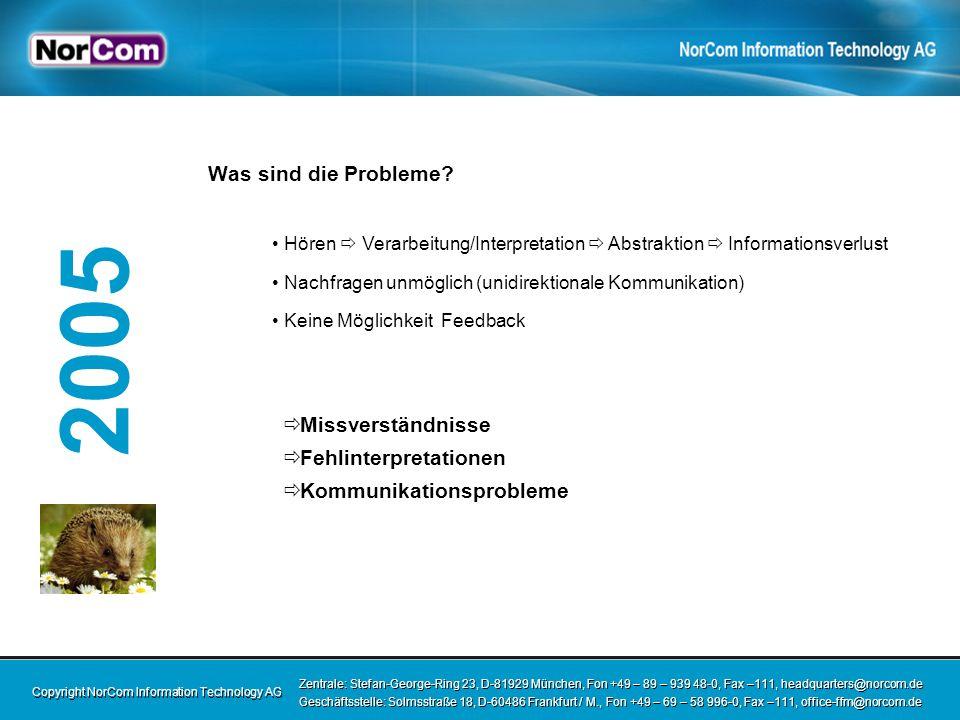 Copyright NorCom Information Technology AG Zentrale: Stefan-George-Ring 23, D-81929 München, Fon +49 – 89 – 939 48-0, Fax –111, headquarters@norcom.de Geschäftsstelle: Solmsstraße 18, D-60486 Frankfurt / M., Fon +49 – 69 – 58 996-0, Fax –111, office-ffm@norcom.de Zentrale: Stefan-George-Ring 23, D-81929 München, Fon +49 – 89 – 939 48-0, Fax –111, headquarters@norcom.de Geschäftsstelle: Solmsstraße 18, D-60486 Frankfurt / M., Fon +49 – 69 – 58 996-0, Fax –111, office-ffm@norcom.de 2005 Warum kommt es zu diesen Problemen.