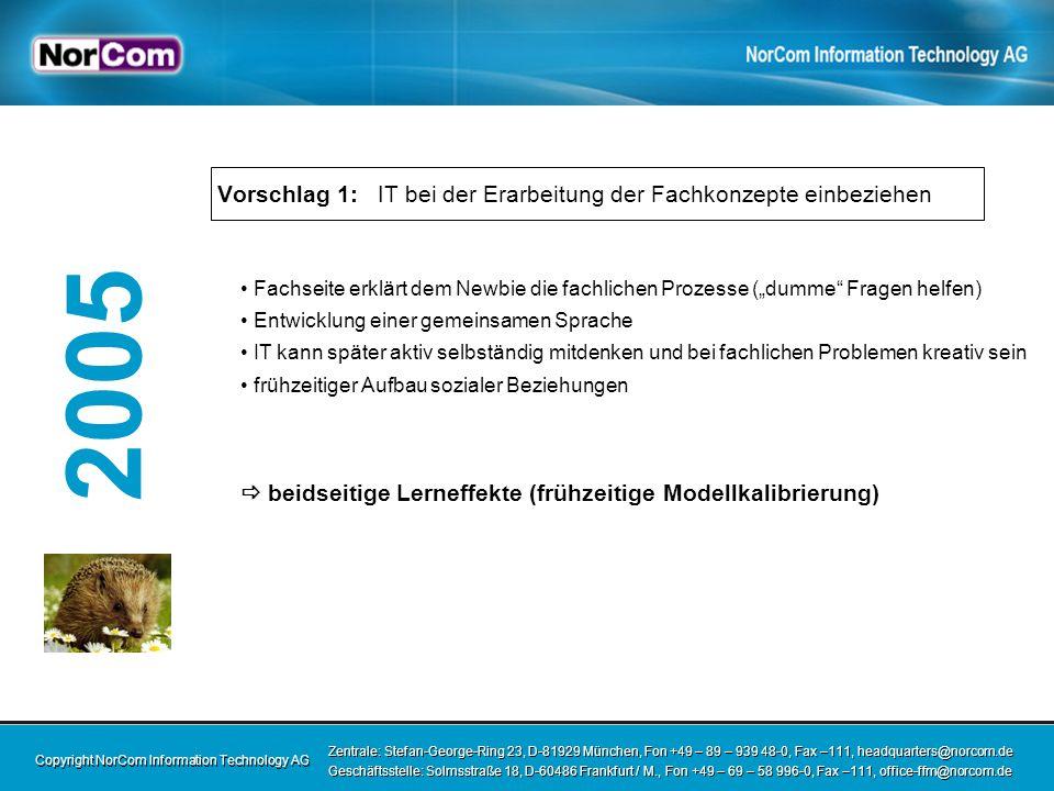 Copyright NorCom Information Technology AG Zentrale: Stefan-George-Ring 23, D-81929 München, Fon +49 – 89 – 939 48-0, Fax –111, headquarters@norcom.de Geschäftsstelle: Solmsstraße 18, D-60486 Frankfurt / M., Fon +49 – 69 – 58 996-0, Fax –111, office-ffm@norcom.de Zentrale: Stefan-George-Ring 23, D-81929 München, Fon +49 – 89 – 939 48-0, Fax –111, headquarters@norcom.de Geschäftsstelle: Solmsstraße 18, D-60486 Frankfurt / M., Fon +49 – 69 – 58 996-0, Fax –111, office-ffm@norcom.de 2005 Vorschlag 2: Leuchtspurmunition - Prototyping Fachkonzept: zu abstrakt (für IT oftmals schwer verständlich) UML: zu abstrakt (für Fachseite oftmals schwer verständlich) Lösung: Prototyping zur Konkretisierung des Fachkonzepts Modellabgleich Use-Cases durchspielen und dadurch Prozess-Schwächen frühzeitig aufdecken