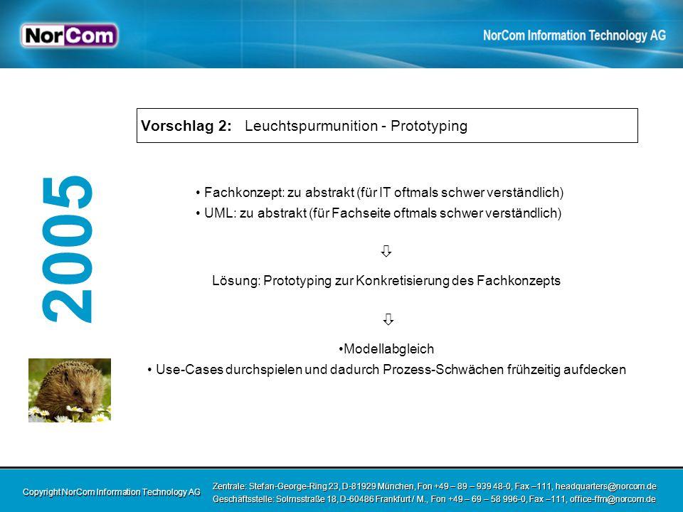 Copyright NorCom Information Technology AG Zentrale: Stefan-George-Ring 23, D-81929 München, Fon +49 – 89 – 939 48-0, Fax –111, headquarters@norcom.de Geschäftsstelle: Solmsstraße 18, D-60486 Frankfurt / M., Fon +49 – 69 – 58 996-0, Fax –111, office-ffm@norcom.de Zentrale: Stefan-George-Ring 23, D-81929 München, Fon +49 – 89 – 939 48-0, Fax –111, headquarters@norcom.de Geschäftsstelle: Solmsstraße 18, D-60486 Frankfurt / M., Fon +49 – 69 – 58 996-0, Fax –111, office-ffm@norcom.de 2005 Vorschlag 3: IT-Team nach fachlichen Paketen organisieren IT-Team sammelt detailliertes Fachwissen in überschaubarem fachlichen Bereich Domänen-Experten Verantwortung Motivation Identifikation