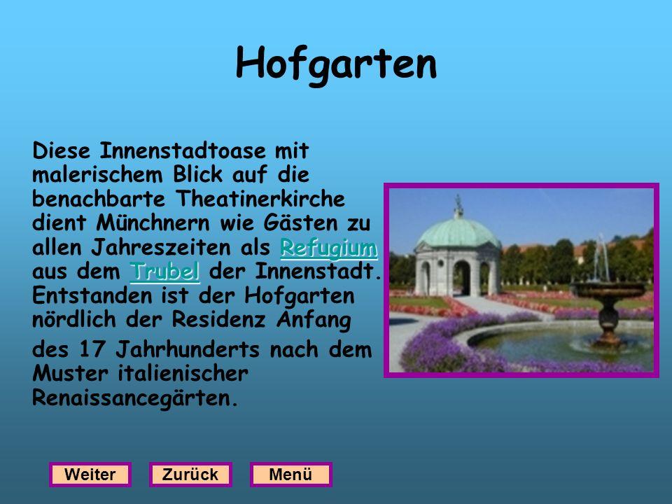 Hofgarten Refugium Trubel Refugium Trubel Diese Innenstadtoase mit malerischem Blick auf die benachbarte Theatinerkirche dient Münchnern wie Gästen zu