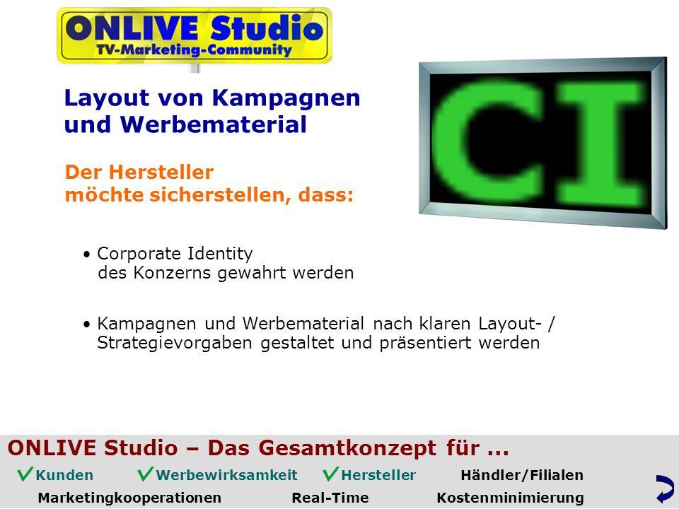 Corporate Identity Kampagnen und Werbematerial nach klaren Layout- / Layout von Kampagnen und Werbematerial Der Hersteller möchte sicherstellen, dass: des Konzerns gewahrt werden Strategievorgaben gestaltet und präsentiert werden ONLIVE Studio – Das Gesamtkonzept für...