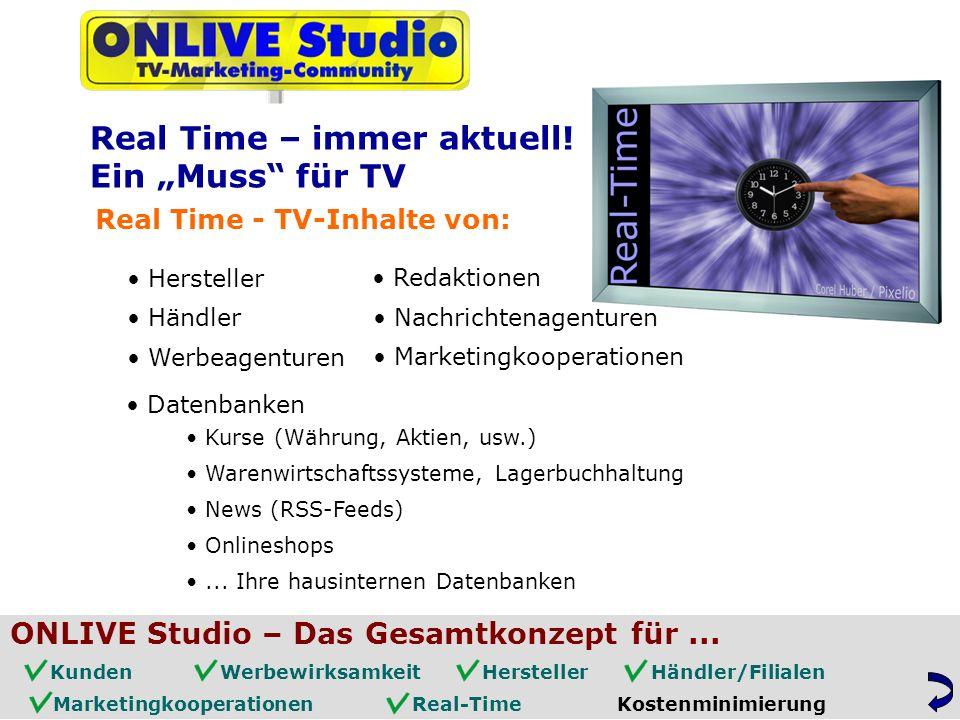 Real Time - TV-Inhalte von: Hersteller Händler Werbeagenturen Redaktionen Datenbanken Kurse (Währung, Aktien, usw.) Warenwirtschaftssysteme, Lagerbuchhaltung News (RSS-Feeds) Onlineshops...