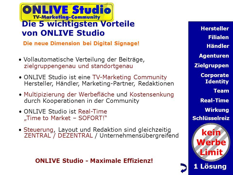 Die 5 wichtigsten Vorteile von ONLIVE Studio Die neue Dimension bei Digital Signage.