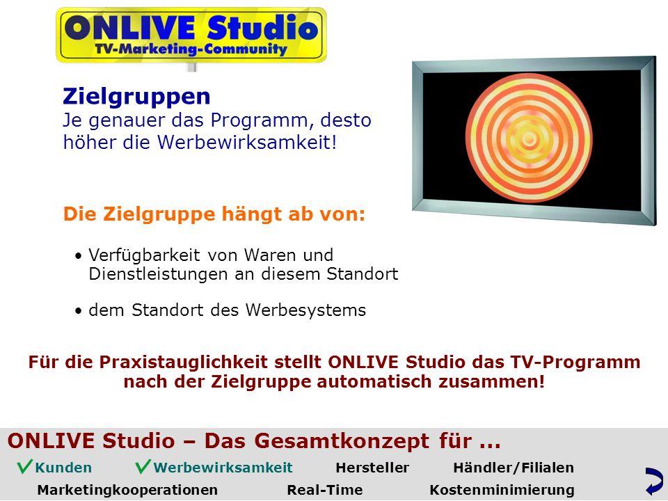 Die Zielgruppe hängt ab von: Für die Praxistauglichkeit stellt ONLIVE Studio das TV-Programm Verfügbarkeit von Waren und Zielgruppen Je genauer das Programm, desto höher die Werbewirksamkeit.