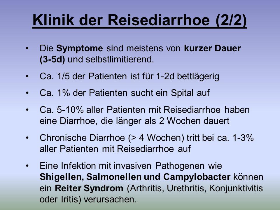Die Symptome sind meistens von kurzer Dauer (3-5d) und selbstlimitierend. Ca. 1/5 der Patienten ist für 1-2d bettlägerig Ca. 1% der Patienten sucht ei