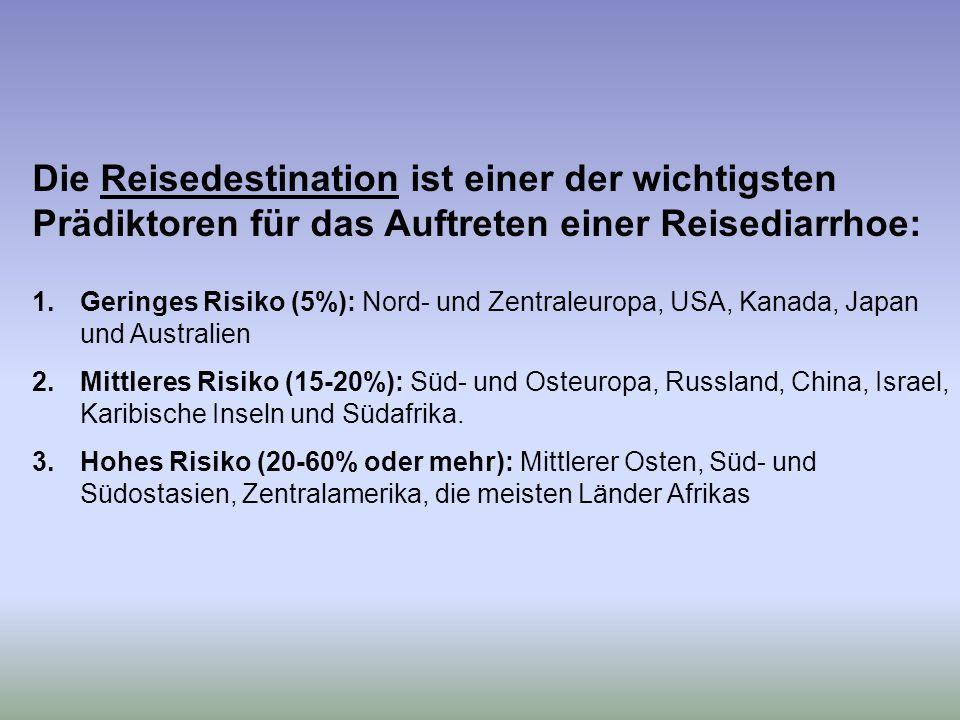 Die Reisedestination ist einer der wichtigsten Prädiktoren für das Auftreten einer Reisediarrhoe: 1.Geringes Risiko (5%): Nord- und Zentraleuropa, USA