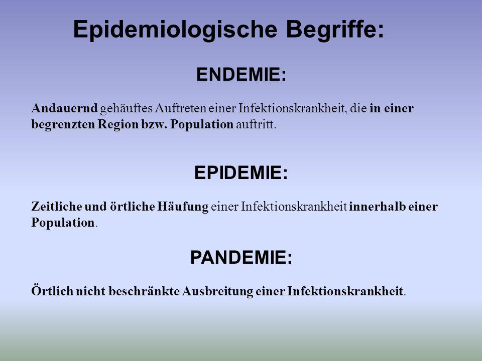 Epidemiologische Begriffe: ENDEMIE: Andauernd gehäuftes Auftreten einer Infektionskrankheit, die in einer begrenzten Region bzw. Population auftritt.