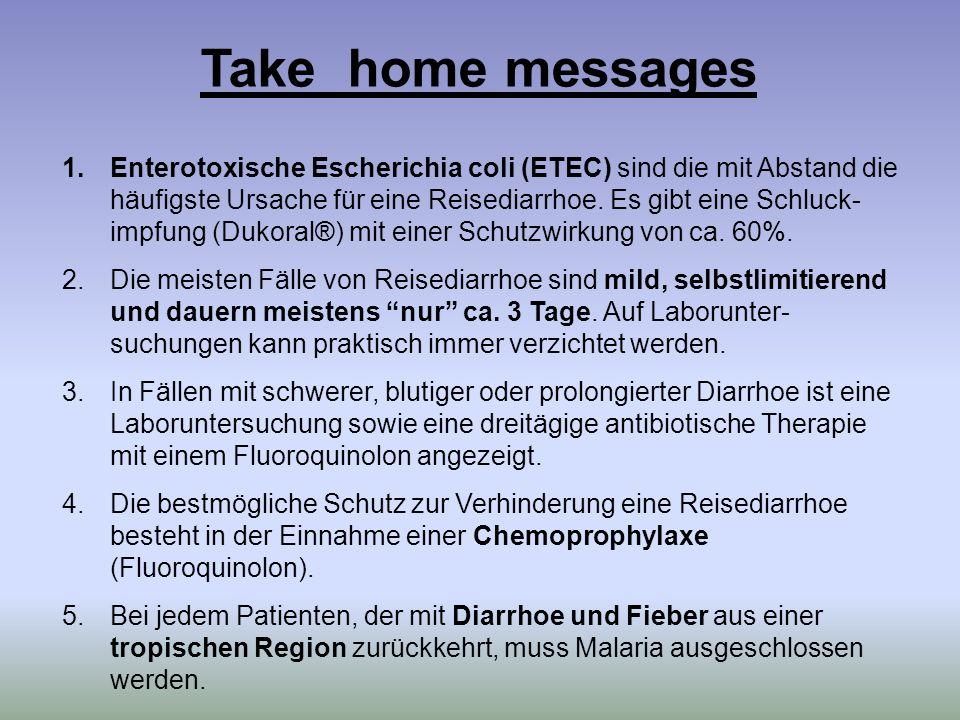 1.Enterotoxische Escherichia coli (ETEC) sind die mit Abstand die häufigste Ursache für eine Reisediarrhoe. Es gibt eine Schluck- impfung (Dukoral®) m