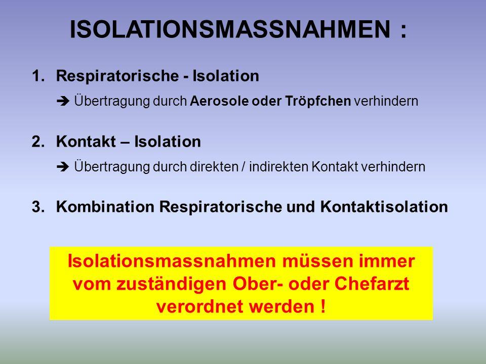 1.Respiratorische - Isolation Übertragung durch Aerosole oder Tröpfchen verhindern 2.Kontakt – Isolation Übertragung durch direkten / indirekten Konta