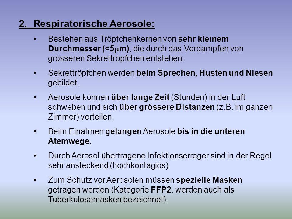 2.Respiratorische Aerosole: Bestehen aus Tröpfchenkernen von sehr kleinem Durchmesser (<5 m), die durch das Verdampfen von grösseren Sekrettröpfchen e