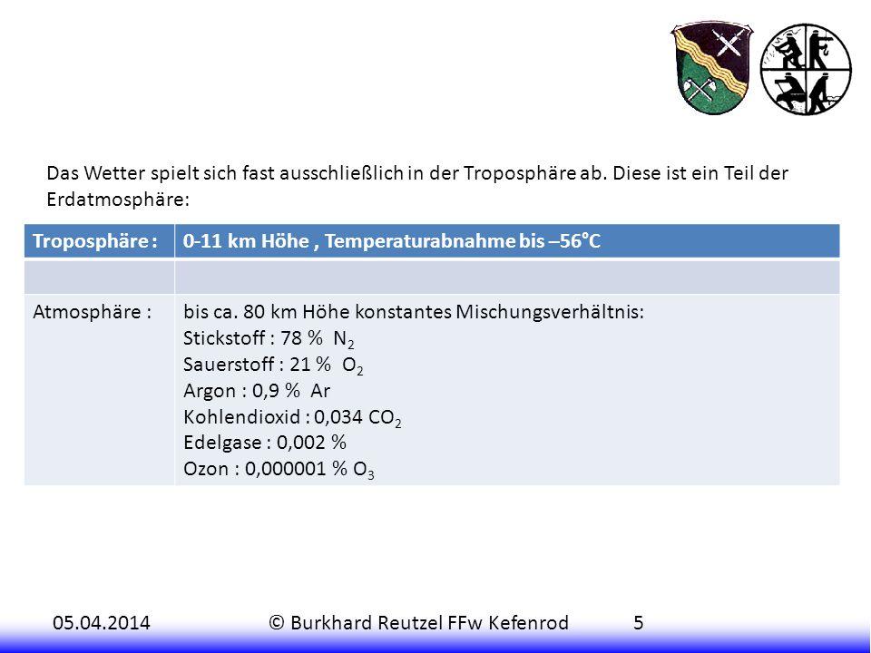 05.04.2014© Burkhard Reutzel FFw Kefenrod5 Das Wetter spielt sich fast ausschließlich in der Troposphäre ab. Diese ist ein Teil der Erdatmosphäre: Tro