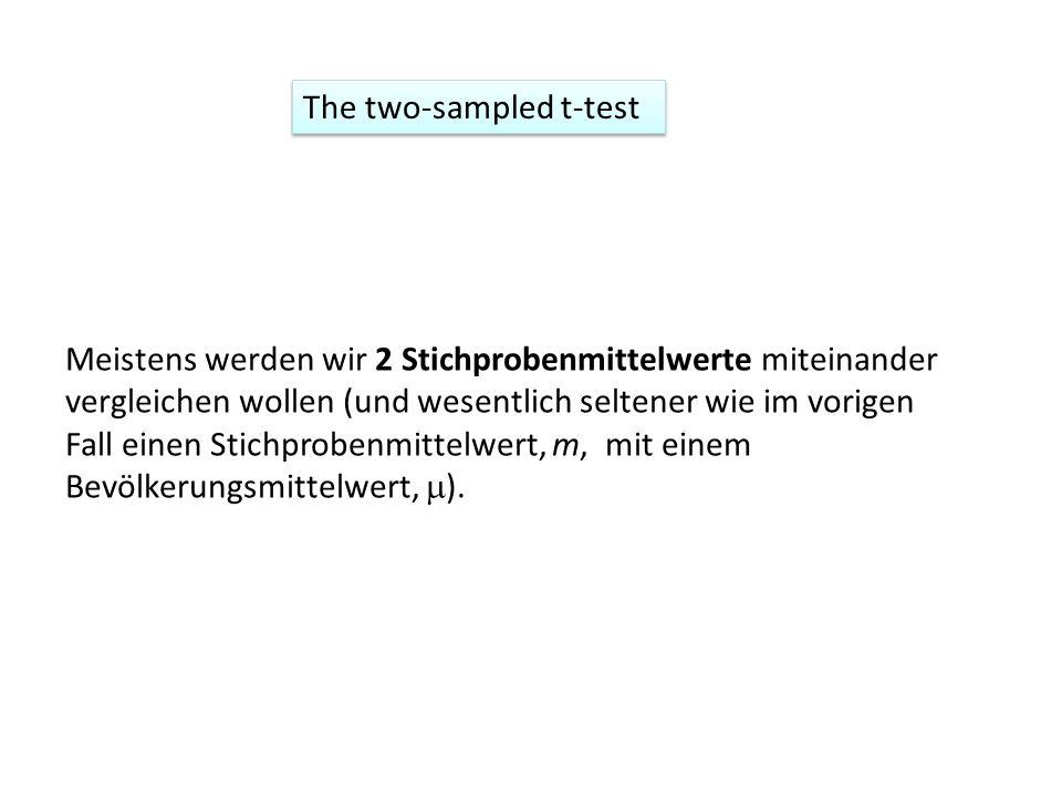The two-sampled t-test Meistens werden wir 2 Stichprobenmittelwerte miteinander vergleichen wollen (und wesentlich seltener wie im vorigen Fall einen