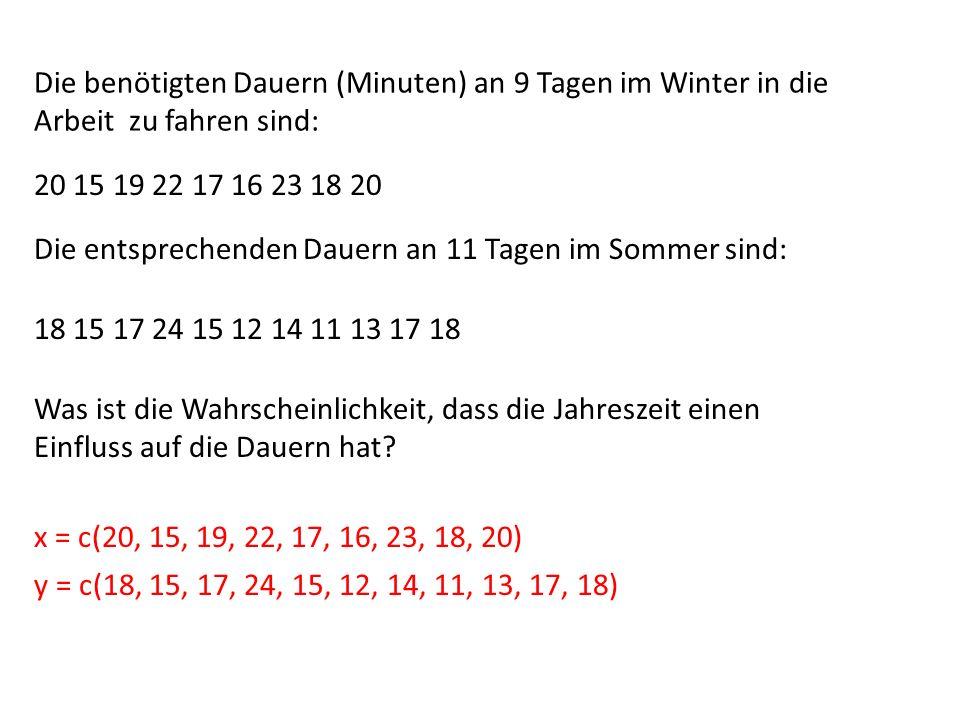 Die benötigten Dauern (Minuten) an 9 Tagen im Winter in die Arbeit zu fahren sind: 20 15 19 22 17 16 23 18 20 Die entsprechenden Dauern an 11 Tagen im
