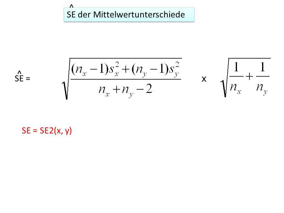x SE = SE2(x, y) SE der Mittelwertunterschiede ^ SE = ^